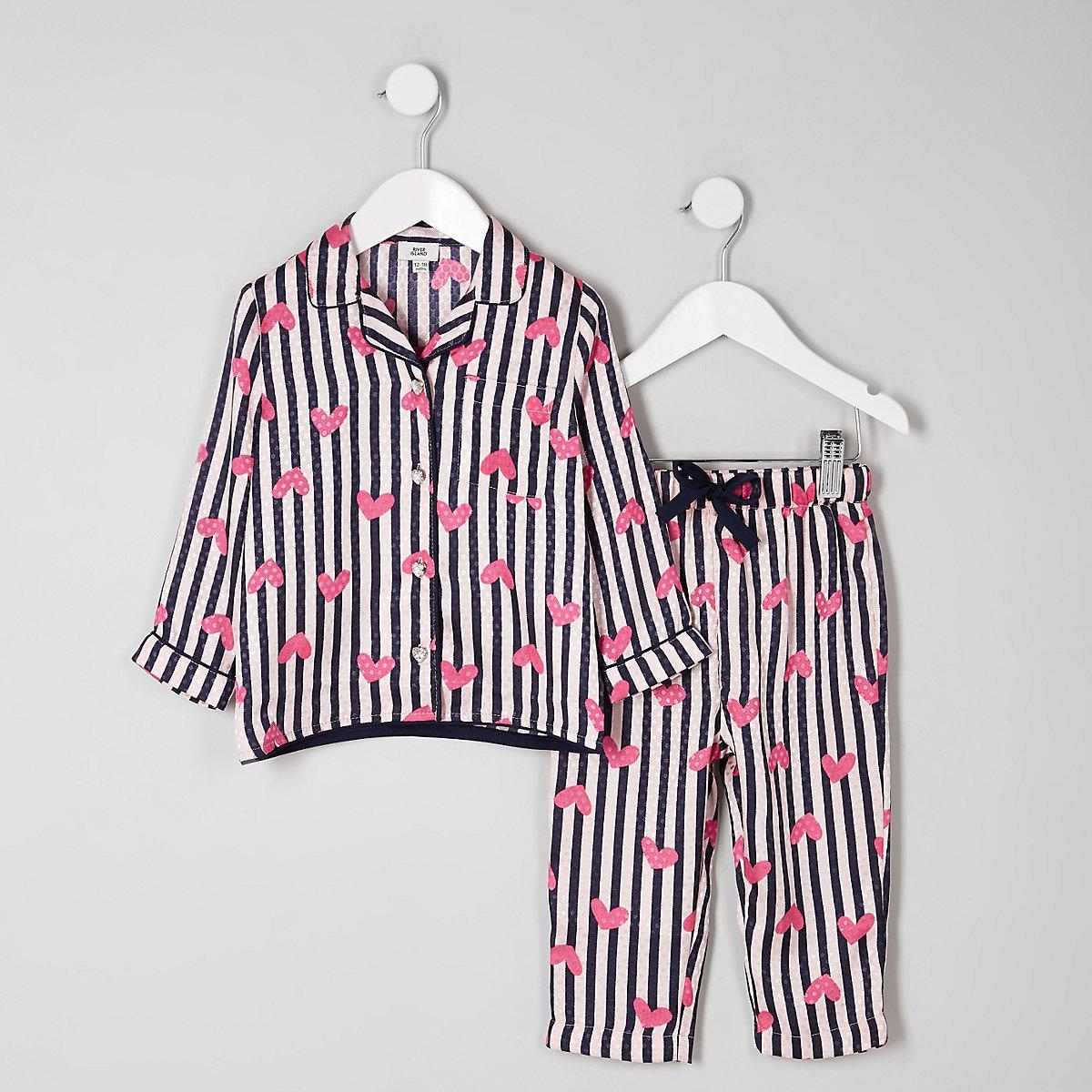 Mini girls pink heart stripe satin pyjama set