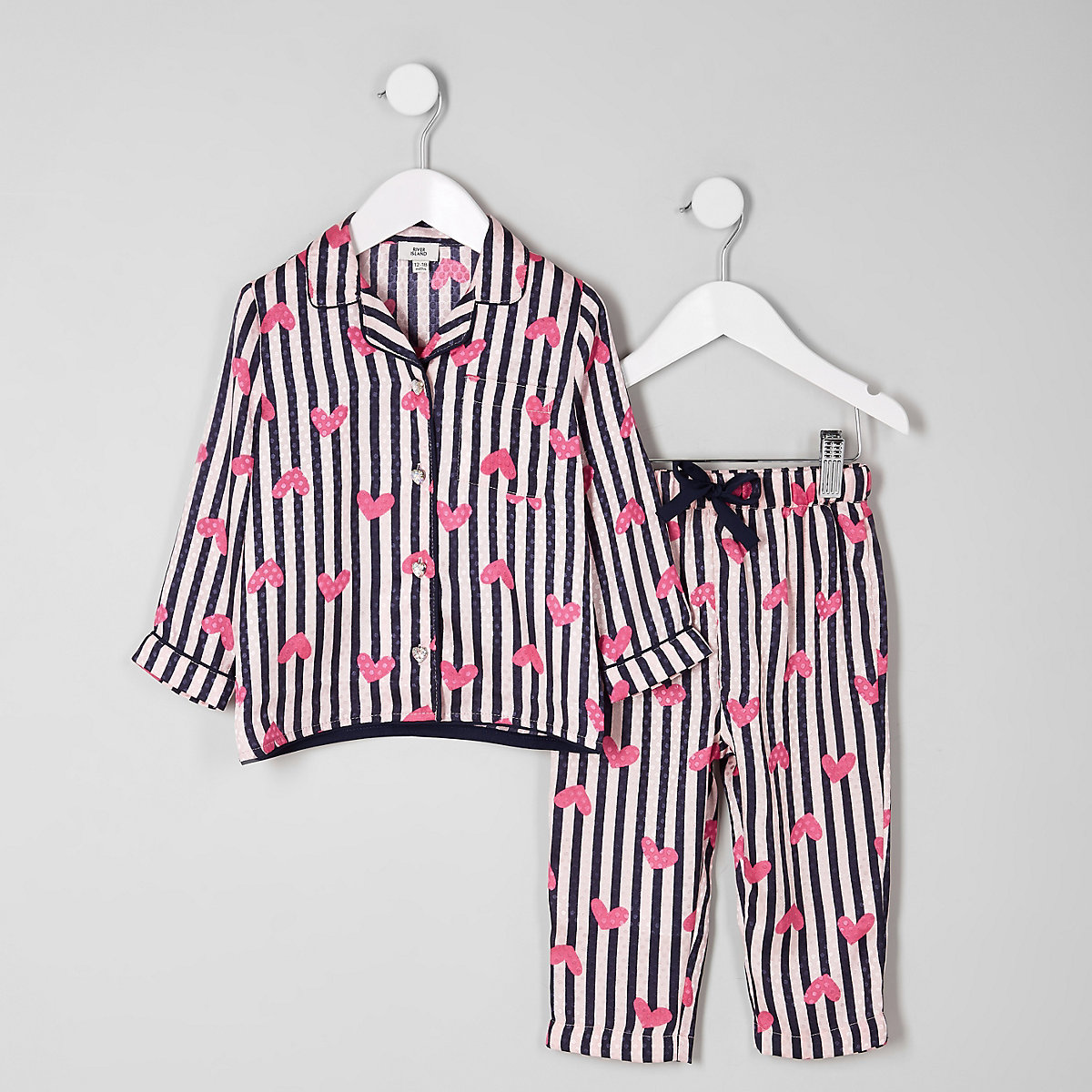 Mini girls pink heart stripe satin pajama set