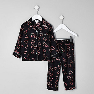 Mini girls black heart print pyjama set