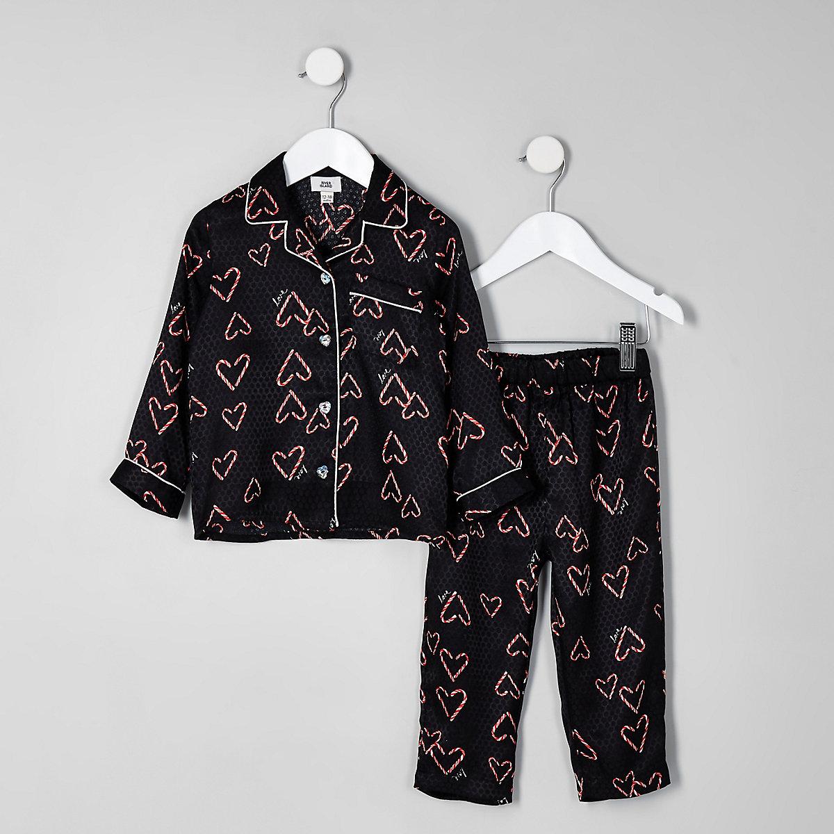 Mini girls black heart print pyjama set