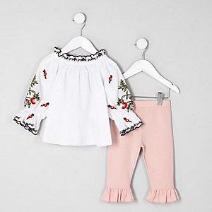 Mini girls white poplin bardot top outfit
