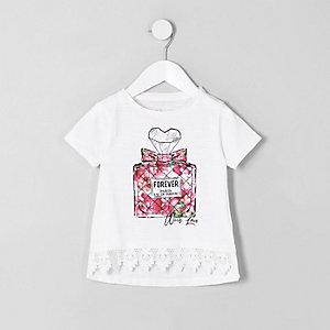 Weißes T-Shirt mit Parfümflaschenapplikation