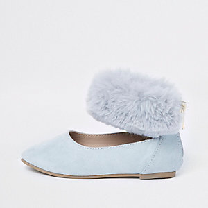 Mini girls blue faux fur ballerina pumps