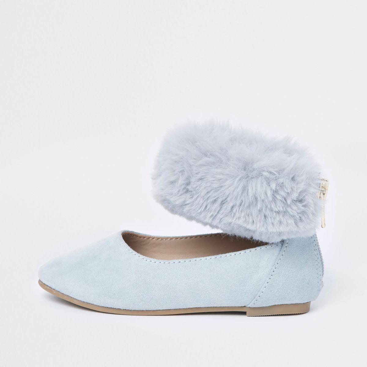 Mini girls blue faux fur ballerina pumps
