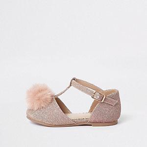Mini - Roze platte sandalen met pompon voor meisjes