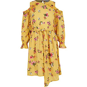 Girls yellow floral print cold shoulder dress