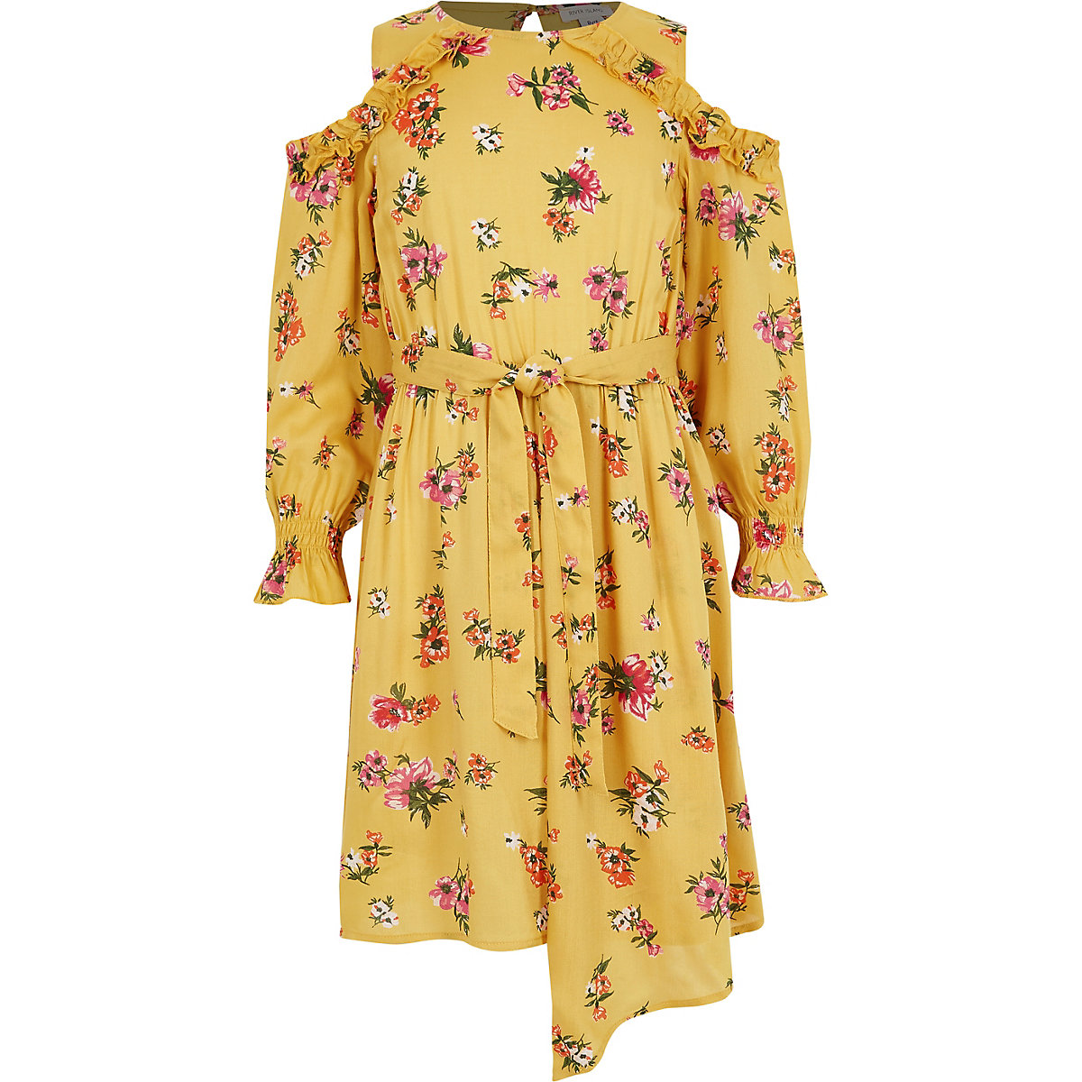 Girls yellow floral print cold shoulder dress