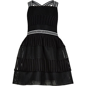 Girls black mesh prom dress