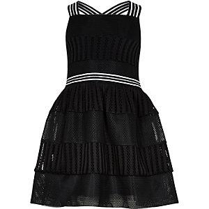 Girls black mesh prom dress