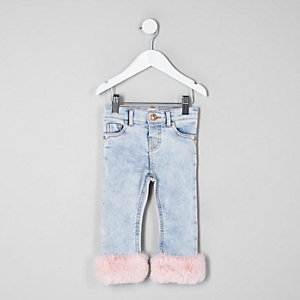 Mini girls blue faux fur trim skinny jeans