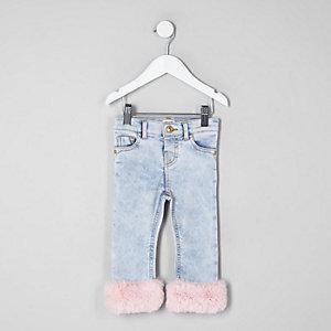 Mini girls blue faux fur trim skinny jeans