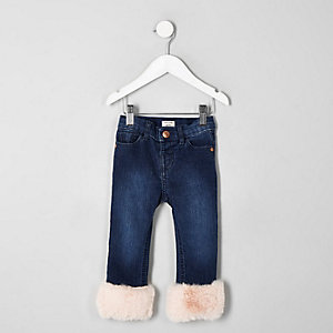 Mini girls Amelie faux fur hem jeans