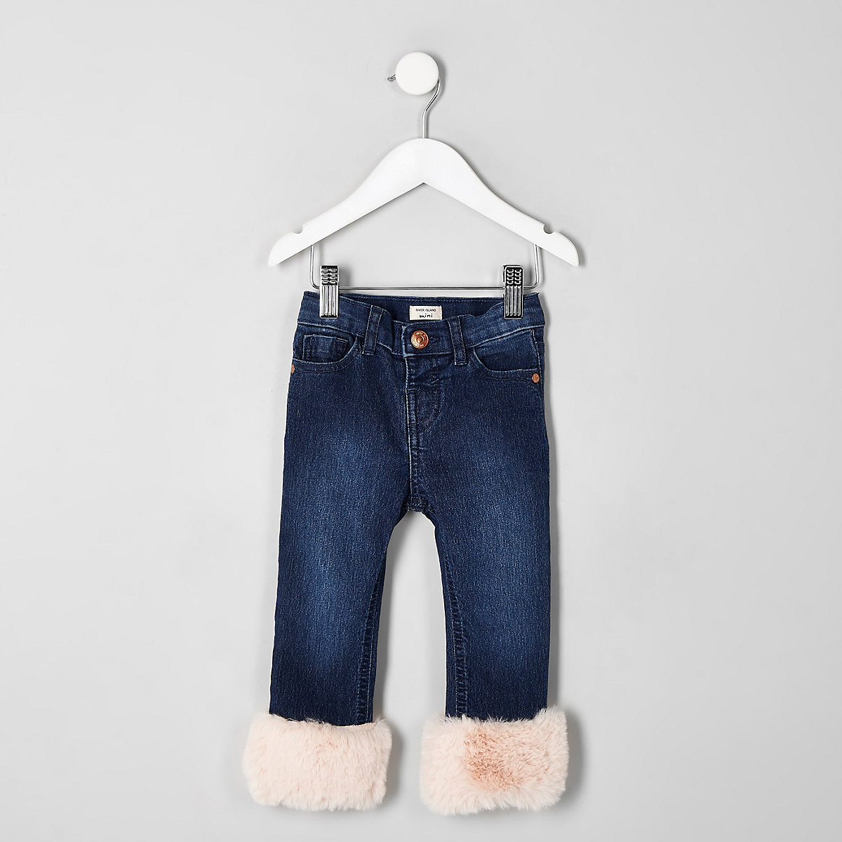 Mini girls Amelie faux fur hem jeans