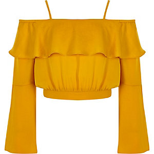Girls yellow bardot flute sleeve crop top