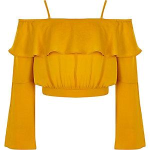 Gele crop top met bardothalslijn en wijduitlopende mouwen voor meisjes