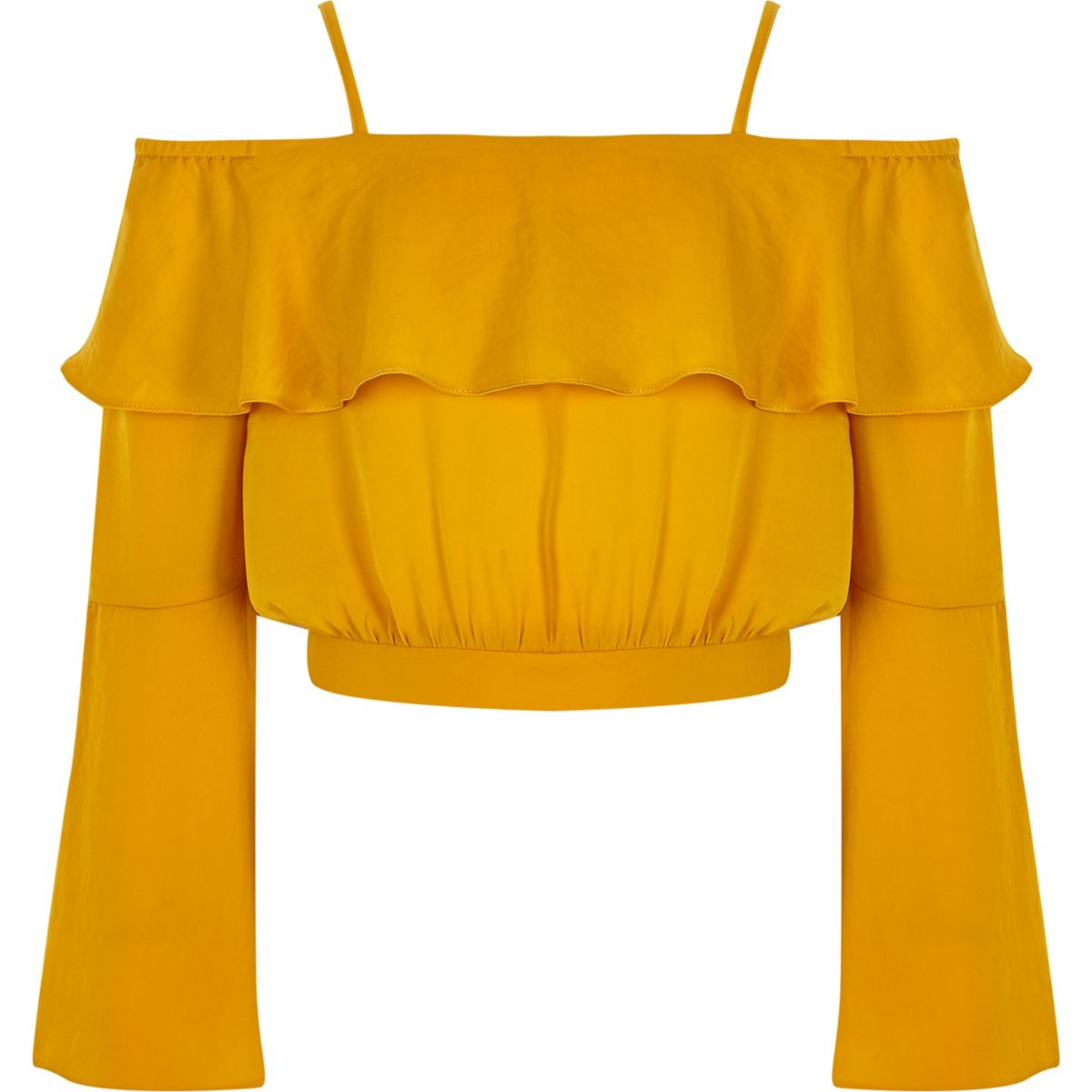 Girls yellow bardot flute sleeve crop top