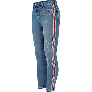 Girls blue Amelie side stripe skinny jeans