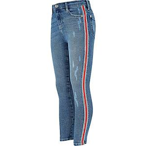 Amelie - Blauwe skinny jeans met streep opzij voor meisjes