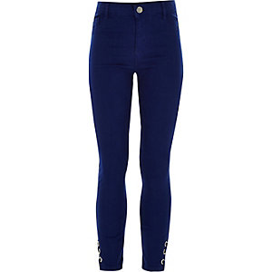 Girls blue lace-up Molly jeggings
