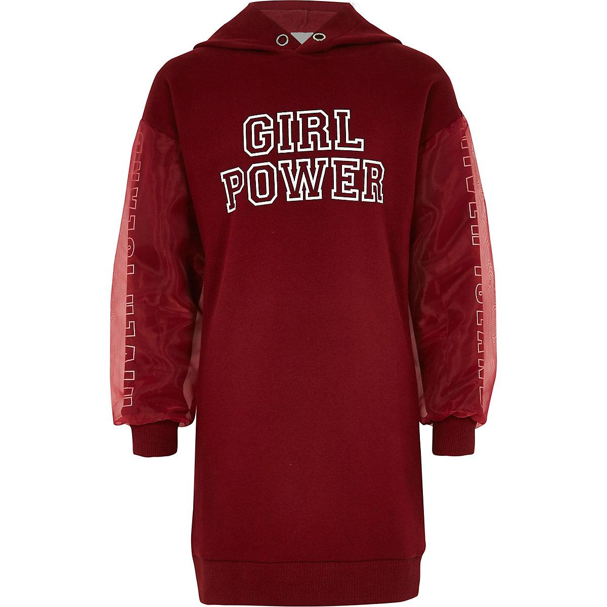 Girls dark red 'girl power' hoodie dress