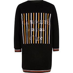 Zwarte sweatshirtjurk met 'La beaute'-print voor meisjes