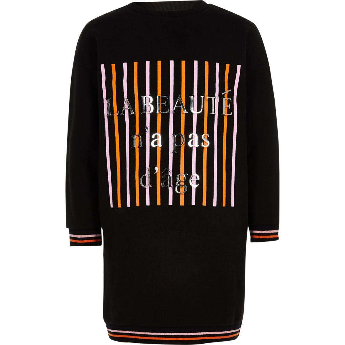 Girls black 'la beaute'sweatshirt dress