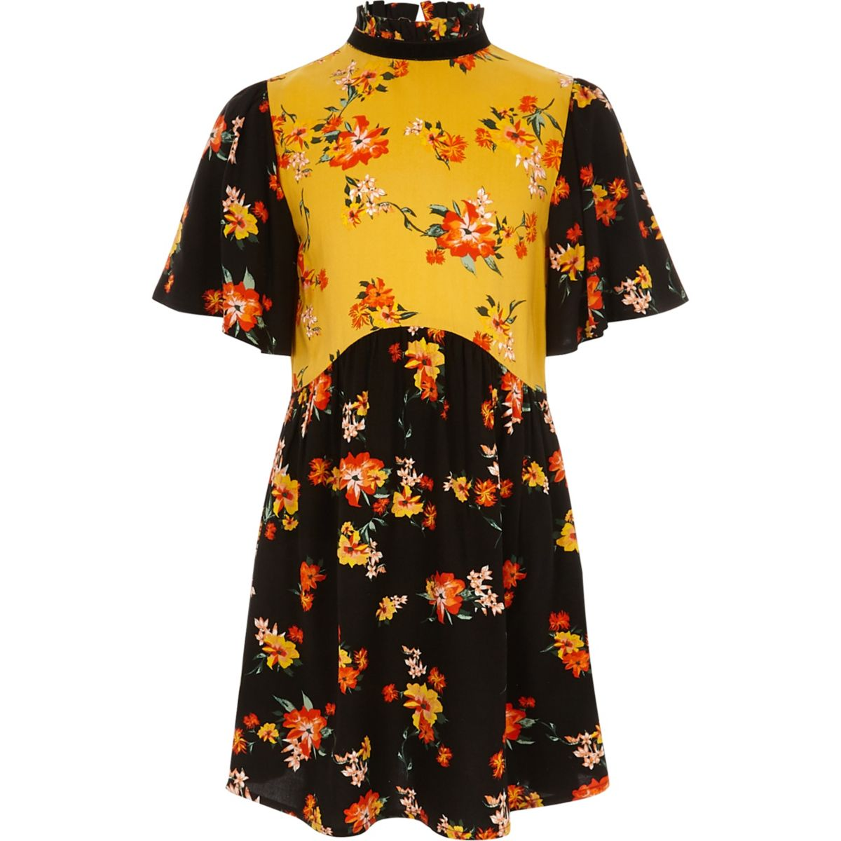 Girls black mixed floral print dress