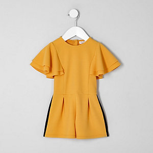 Mini girls yellow frill sleeve tape playsuit