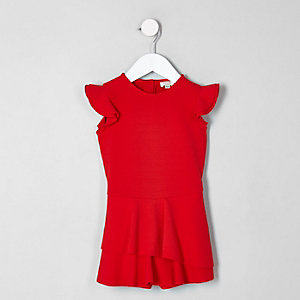 Combi-short rouge à volants façon jupe-short mini fille