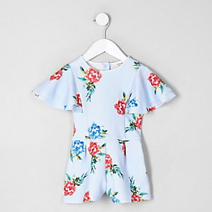 Mini girls blue floral frill sleeve romper