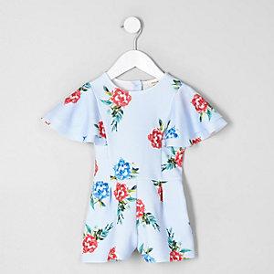 Combi-short à fleurs bleu avec manches à volants mini fille