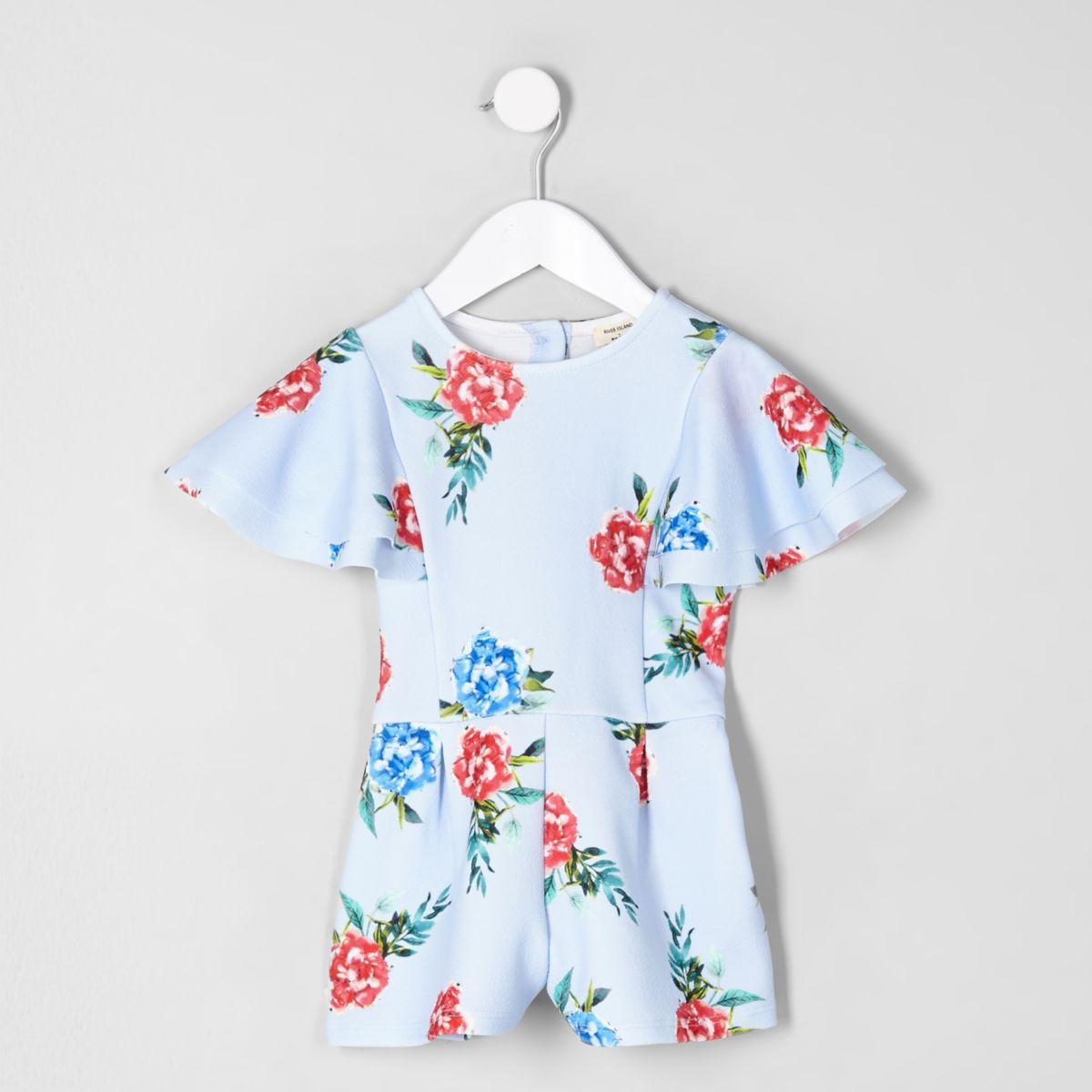 Mini girls blue floral frill sleeve romper