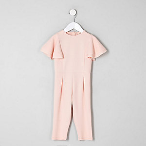 Mini girls pink frill sleeve jumpsuit