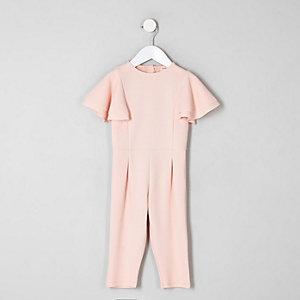 Mini - Roze jumpsuit met ruches aan de mouwen voor meisjes
