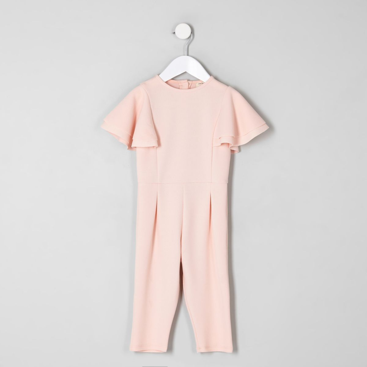 Mini girls pink frill sleeve jumpsuit