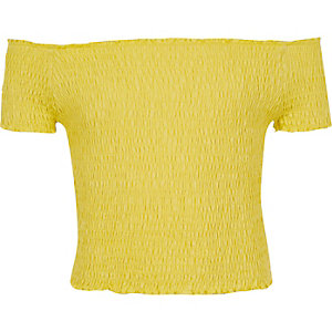 Girls yellow shirred bardot top