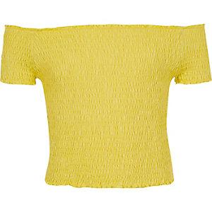 Top Bardot jaune froncé pour fille