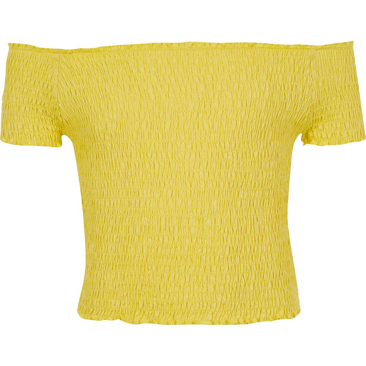 Girls yellow shirred bardot top