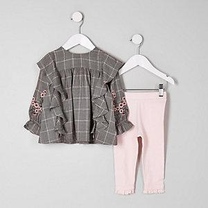Mini - Grijze geruite geborduurde outfit voor meisjes