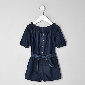 Mini girls blue denim bardot playsuit