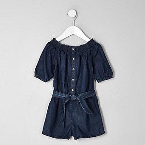 Combi-short Bardot en jean bleu mini fille