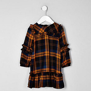 Mini girls mustard check frill dress