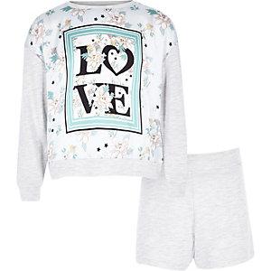 Grijze pyjamaset met 'love'-print voor meisjes