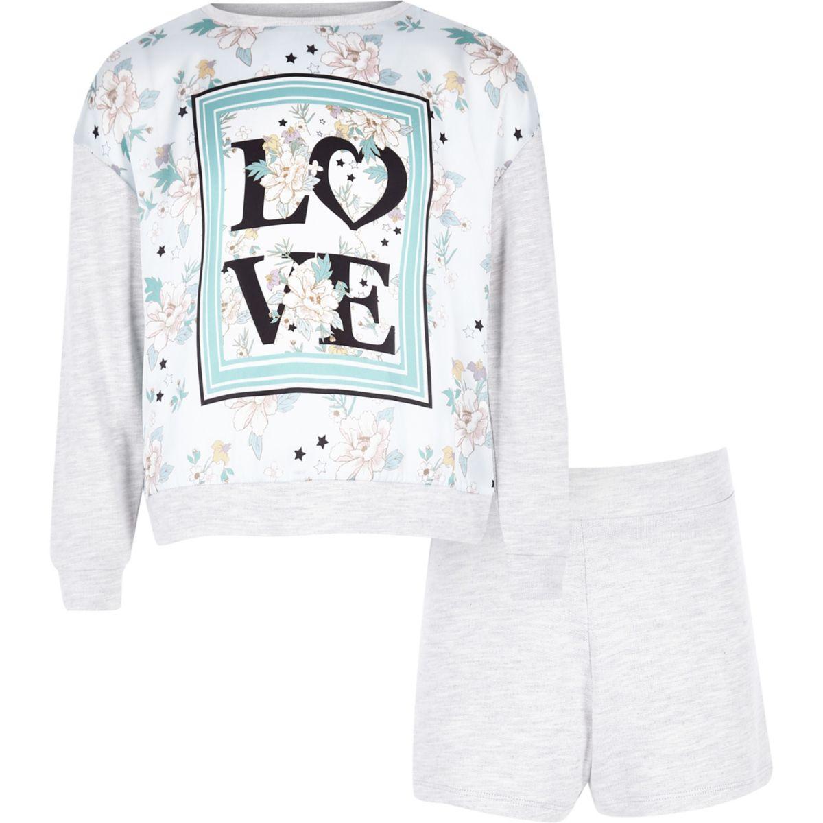 Girls grey 'love' panel print pajama set