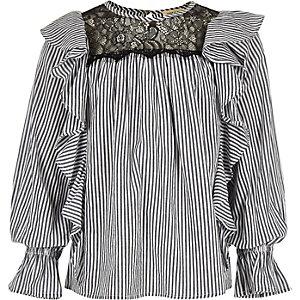 Girls blue frill stripe shirt