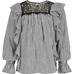 Girls blue frill stripe shirt
