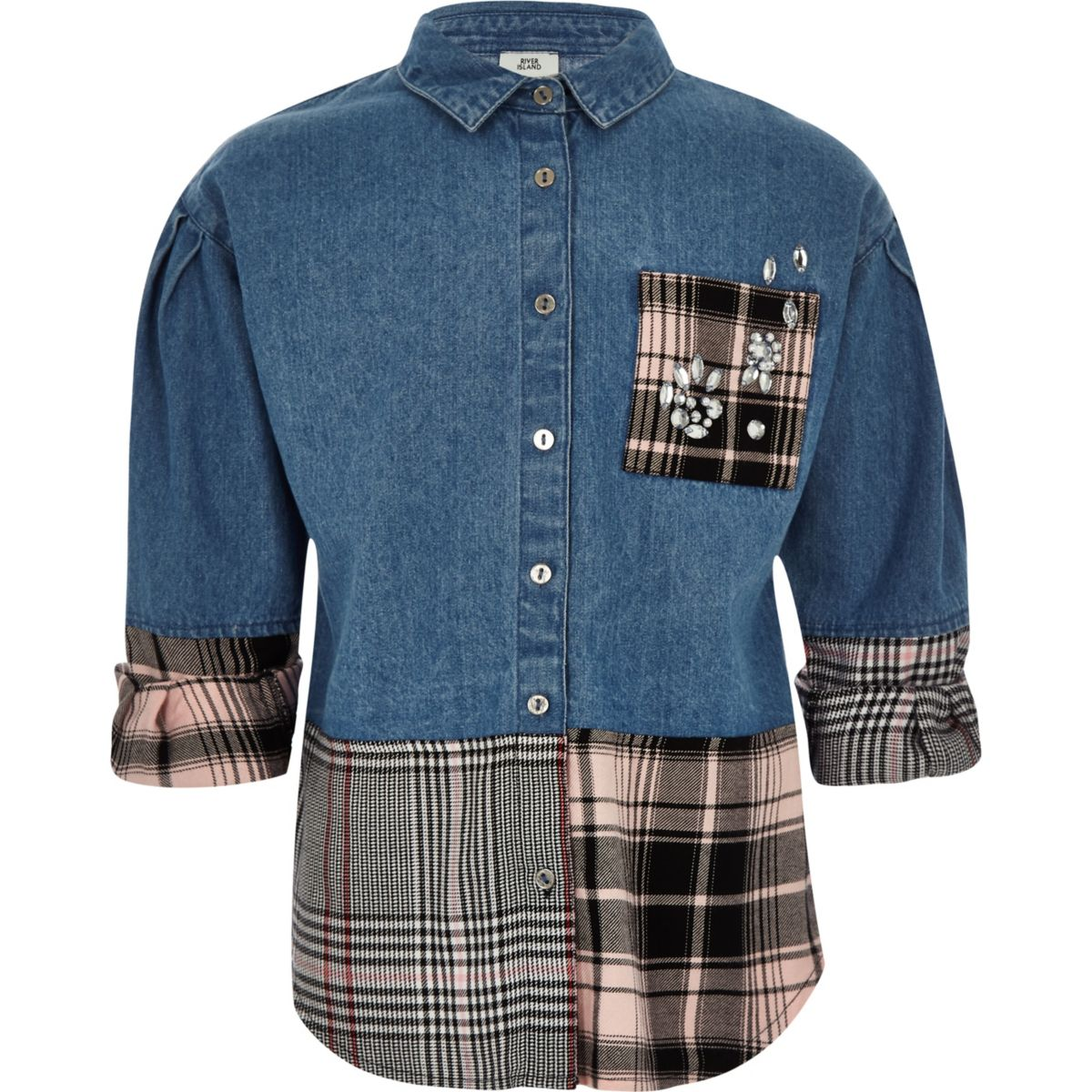 Girls pink check patch denim shirt