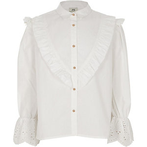 Weißes, besticktes Popelin-Hemd