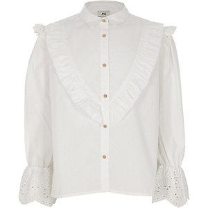 Wit poplin overhemd met geborduurde mouwen voor meisjes