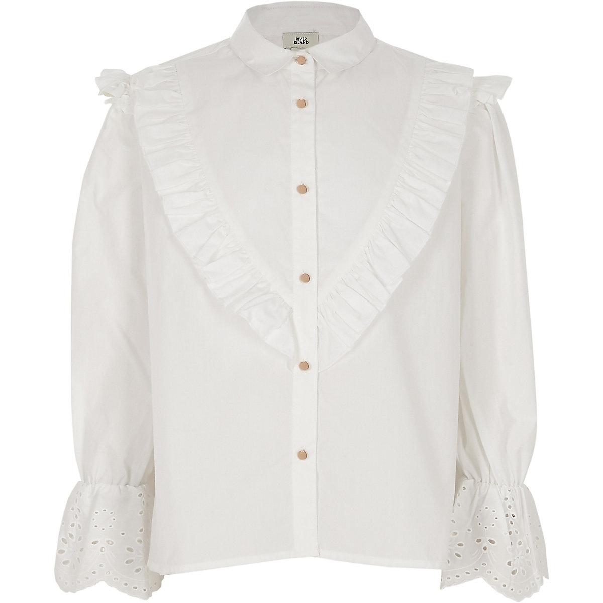 Girls white poplin embroidered sleeve shirt